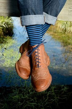 Dapper Classics Navy and Royal Blue Repeating Stripe Sock