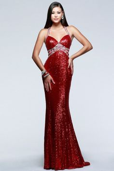 Faviana - 7507 Sequined Evening Dress with Side Cut-Outs. Red Formal  DressesSequin GownLong ... 86bab35ac029