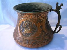Antique Copper Tankard Stag Brass Handle  $79.65