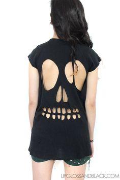 Black skull cut out T! Similar to Kat von D!