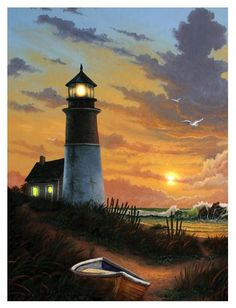 A beautiful Sunset With the Lighthouse Giving Way, part of our line of Lighted Canvas Art. Amber LED sunset light up the horizon, while lights from the lighthouse reflect in the water. Thoughtful and