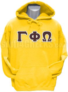 Gold Gamma Phi Omega Fraternity pullover hoodie sweatshirt with the Greek letters across the chest.