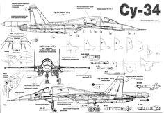Russian Fighter Bomber Su-34 Cutaway Details.