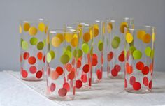Red Polka Dot Silverware | ... vintage drinking glasses with red, yellow, and lime green dots