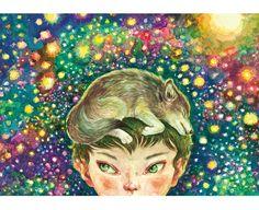 Tomoko Konoike Baby Wolf on My Head watercolor on paper 53.8 x 78cm 2011 頭上の子ども狼