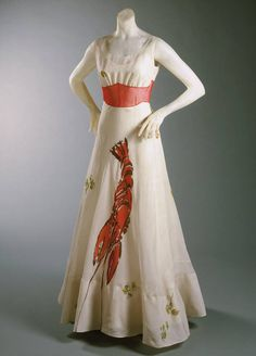 Unusual dress by Elsa Schiaperelli in collaboration with Salvador Dali, 1937