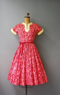 1950's Pink Floral Dress//Cotton Dress//50's by CapsuleVintage
