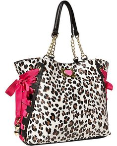 Betsey Johnson MIX AND MATCH TOTE BJ44610 LEOPARD, bright FUCHSIA Side Laces! #BetseyJohnson #TotesShoppers