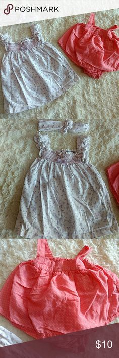 Set of 2 outfits! White and lavender dress with matching headband! Has flutter sleeves and cute floral print! Coral dress is Egg by Susan Lazar! Is very very thin and soft with a onesie underneath. No flaws. Egg Dresses