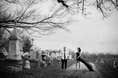 New Cathedral Cemetery, baltimore engagement session, tattooed couple in a cemetery, off beat bride, dramatic engagement session, dark coupl...