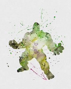 'The Incredible Hulk' watercolor art