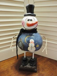 Handpainted Primitive Folk Art Snowman Doll Gourd