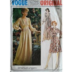 Vogue Paris Original Emmanuel Ungaro 1132, Bust 34 inches, 70s Vogue dress pattern, vintage sewing patterns.  Misses Evening Dress. Loose-fitting dress