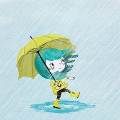 She acts like summer and walks like rain. Illustration Courses, Cloud Illustration, Watercolor Illustration, Yellow Umbrella, Umbrella Girl, Body Parts Preschool, Little Girl Illustrations, Rainy Days, Rainy Night