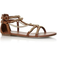 Tan Gold Chain Gladiator Sandals ($23) ❤ liked on Polyvore featuring shoes, sandals, flats, sapatos, chaussures, tan, gold flat shoes, tan sandals, gold shoes en roman gladiator sandals