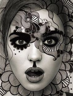 Simple face painting designs are not hard. Many people think that in order to have a great face painting creation, they have to use complex designs, rather then Black And White Girl, Black And White Drawing, Black And White Portraits, White Art, Black And White Photography, White Chalk, Girl Face Drawing, Face Art, Shading Faces
