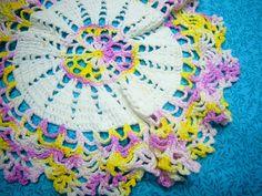 Vintage 9 inch round Hand crochet purple and by MarlenesAttic, $4.75