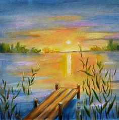 canvas paintings  Lake  | lake sunset oil painting painting by artist meltem kilic