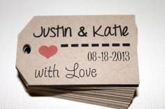 Kraft - With Love - Personalized Name and Date Wedding favor tags - Hang tags - Gift Tags - Set of 40 - Custom Printed & Die Cut. $14.00, via Etsy.