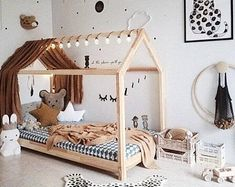 kleinkind zimmer Montessori toddler beds are amazing kids teepee wood house bed for children. Adorable children furniture will make transitioning from a nursery bed or baby bed to a c Baby Room Design, Baby Room Decor, Nursery Decor, Bedroom Decor, Toddler Bed Frame, Diy Toddler Bed, Toddler Bedding Boy, Toddler Beds For Boys, Diy Twin Bed Frame
