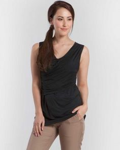 46a361568ff35 The cross over black sleeveless maternity top with incorporated nursing  access. Surplice neckline and the