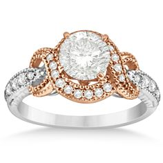 Vintage Halo Diamond Engagement Ring Setting 14k Two-Tone Gold 0.25ct - Allurez.com