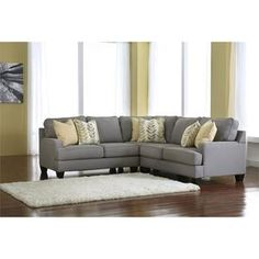 Signature Design by Ashley Furniture Chamberly 3 Piece Sectional Sofa in Alloy - Sears