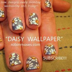 blue with white daisies flower nail art nails  http://www.youtube.com/watch?v=59aQJPKQ4bM