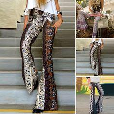 2f17cc8115b Boho Hippie High Waist Wide Leg Long Flared Bell Bottom Pants Women Flroal  Pants in Clothing