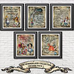 Alice im Wunderland Poster Drucke, 5 Jahrgang Alice Kunst auf alten Wörterbuch Buchseiten gedruckt. Gemischte Medien pack 1 Wand Dekor shabby chic