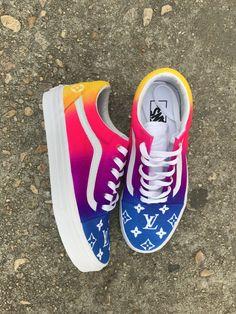 Rainbow LV — SirCastleTees Source by msasunyan Shoes Cool Vans Shoes, Vans Shoes Fashion, Custom Vans Shoes, Custom Painted Shoes, Nike Air Shoes, Girls Sneakers, Girls Shoes, Shoes Sneakers, Aesthetic Shoes