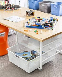 A designated building station made up of elfa drawers and a solid top gives little builders a solid surface plus great storage for Legos. Lego Station, Kids Basement, Lego Store, Kids Room Organization, Container Store, Storage Hacks, Kid Spaces, Legos, Space Saving