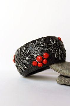 Bracelet polymer clay Rowan,polymer clay jewelry,polymer clay bracelet, wide bangle, ,bracelet red, rowan bracelet, jewelry rowan,