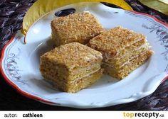 Jiřinčiny medové řezy recept - TopRecepty.cz Czech Food, Czech Recipes, French Toast, Breakfast, Morning Coffee, Morning Breakfast