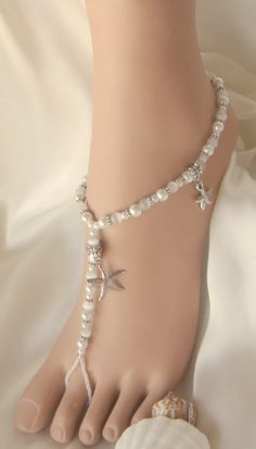 DESTINATION WEDDING-Barefoot sandals for wedding  White Starfish Beach Barefoot Jewelry