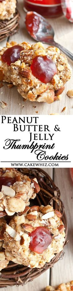These sweet, salty, crunchy PEANUT BUTTER AND JELLY THUMBPRINT COOKIES have all the flavors of your favorite classic sandwiches. From cakewhiz.com