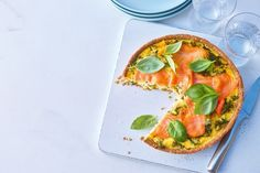 Smoked Salmon Quiche with Kale and Basil on a Sesame Seed Crust / Photo by Myles New Quiche Recipes, Brunch Recipes, Breakfast Recipes, Breakfast Quiche, Breakfast Bites, Empanadas, Quiches, Smoked Salmon Quiche, Basil Recipes