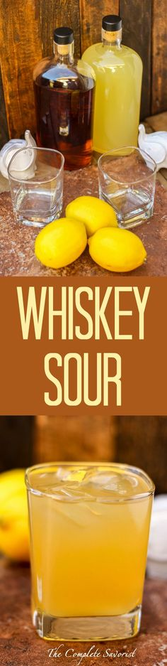 Whiskey Sour ~ The classic cocktail made easily at home sans the egg, perfect…