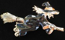 NIB NAPIER FLYING FUN SCARY HALLOWEEN FLYING WITCH BROOM PIN BROOCH JEWELRY 2.5""