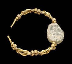 Bracelet with engraved gem depicting a female head wearing earrings and a necklace Gold, rock crystal  Greek Hellenistic Period late 4th–3rd century B.C.