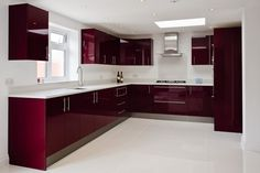 Cimstone Arcadia worktops on high gloss burgundy units Kitchen Ceiling Design, Kitchen Room Design, Modern Kitchen Design, Interior Design Kitchen, Modern Interior, Interior Decorating, Kitchen Cupboard Designs, Kitchen Cabinet Styles, Modern Kitchen Cabinets