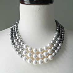 RESERVED FOR CASSANDRA: Color Block Triple Decker Necklace - in Gray - 3 Strand Colored Pearl Necklace