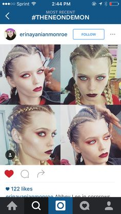 Abbey on set of the neon demon Makeup Inspo, Makeup Art, Makeup Inspiration, Hair Makeup, Demon Makeup, Demon Aesthetic, The Neon Demon, Competition Hair, Witch Outfit