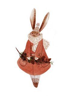 "vanessamakesthings: ""A little christmas-y bunny. Prepare yourselves, I have all kinds of seasonal illustrations in the works! Illustration Noel, Christmas Illustration, Watercolor Illustration, Pretty Art, Cute Art, Bel Art, Art Mignon, Art Inspo, Art Reference"