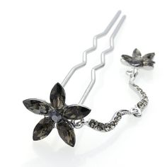 DoubleAccent Hair Jewelry Simulated Crystal Flower Dangle Bun Stick Black ** Read more reviews of the product by visiting the link on the image.