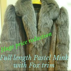 """Alaskan Fur Mink coat PRICE NEGOTIABLE An amazing Demi Buff/Pastel, full length Chord Cut Mink with Dyed Feathered Fox sleeves and Full Feathered Fox Tuxedo front.  Fox Origin-Norway, Mink Origin-Denmark. Size 8-10 51""""long. Stunning one of a kind, no flaws, worn only a few times. Cleaned and stored at Alaskan Fur. Three toggle button closure. Appraised by Christian Nobel Furs LTD. I will pay shipping and insurance.  All proceeds go to New Wheels for Brayden. @www.http://gofundme.com/axi2pg…"""