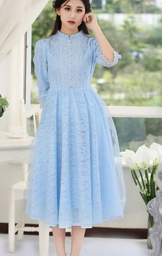 Free Shipping 2016 Spring New Arrival Retro Stand Collar Three quarter Sleeve Woman Gauze Lace Long Dress -in Dresses from Women's Clothing & Accessories on Aliexpress.com | Alibaba Group
