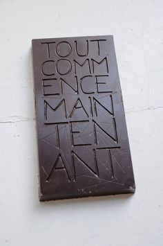 Dynamo Typocolate Project: seriously heavyweight slabs of chocolate, engraved with positive mantras