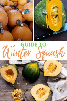 There are so many types of squash! This winter squash guide walks you through what you need to know about choosing, storing, and cooking common varieties.  #wintersquash #varieties #typesof #storing #storage #howtostore #cooking Pumpkin Soup, Baked Pumpkin, Pumpkin Puree, Acorn Squash Recipes, Pumpkin Seed Recipes, Gem Squash, Winter Squash Varieties, Buttercup Squash, How To Cook Squash