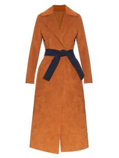 MSGM Contrast belt faux-suede trench coat